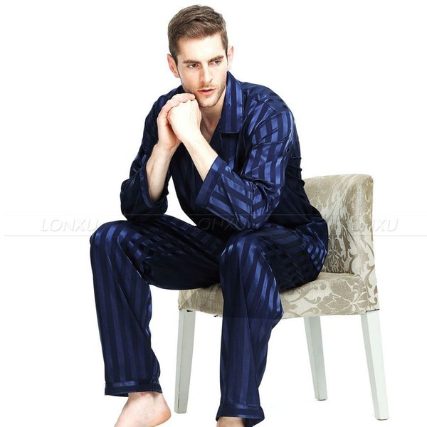 Mens Silk Satin Pajamas Pajama Pyjamas Sleepwear Set Loungewear S,m,l,xl,2xl,3xl,4xl Plus Striped Black Q190428