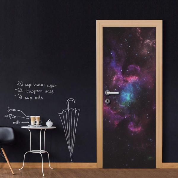Wholesales DIY Door Sticker Fantasic Space Door Decal for Bedroom Living Room wallpapers Decal home accessories