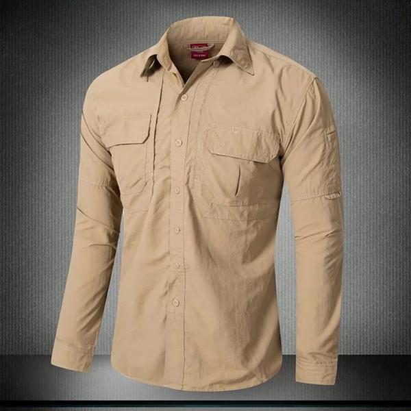 Camicia da uomo a manica lunga con protezione rapida per asciugatura sportiva Sport estivi Equitazione Campeggio Camicie tattiche traspiranti per la protezione solare
