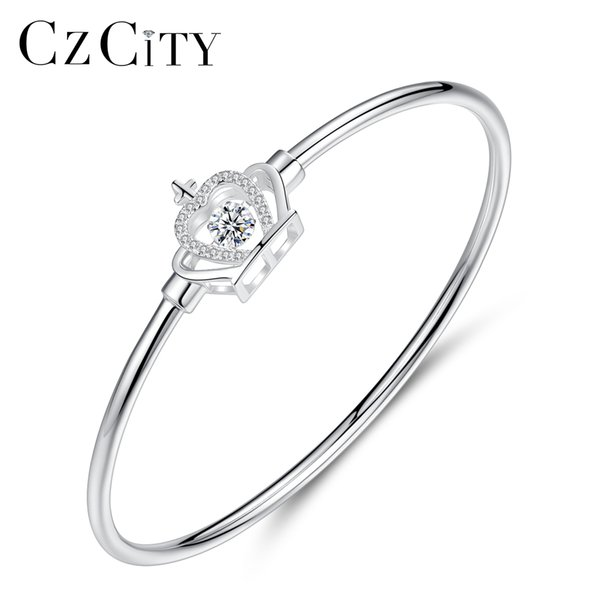 PAG&MAG 925 Sterling Silver Bangles Mounting Square Clear CZ Crystal& Crown Queen Style Fine Jewlery For Angle Girl