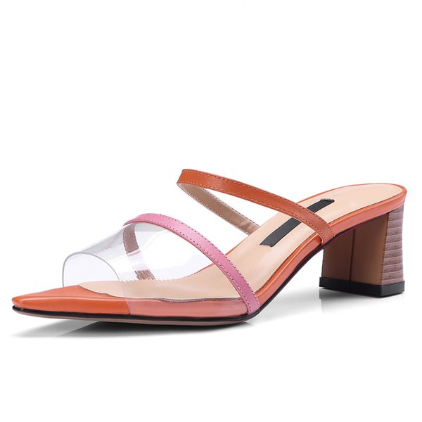Open-toe Women's Transparent Mules 5 CM Chunky Heels Summer Style Party Slippers Leather Woman Shoes Box packing 18-77