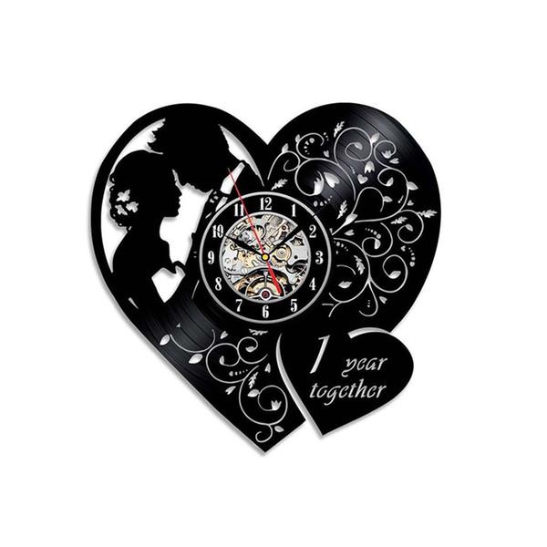 1 Jahr Zusammen Jubiläum Herzförmige Schallplatte Wanduhr Home Decor Valentine Hochzeit Geschenk 2019 Mode Liebhaber uhr