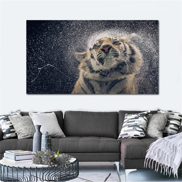 tiger in water drops cute animals living room decor home wall art decor wood frame fabric posters KG903