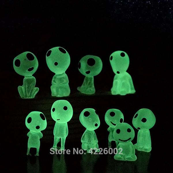 10pcs Princess Mononoke Glow in dark Ghibli Action Figure Kodamas Elfo luminoso Albero Bambole Set Modello in resina Cartoon Figurine Giocattoli