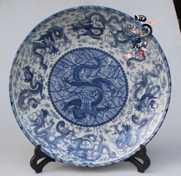 Antiques Antique Collection Antique Ceramics Blue and White Porcelain Dragon Plate Tray Plate Platter Decoration Crafts