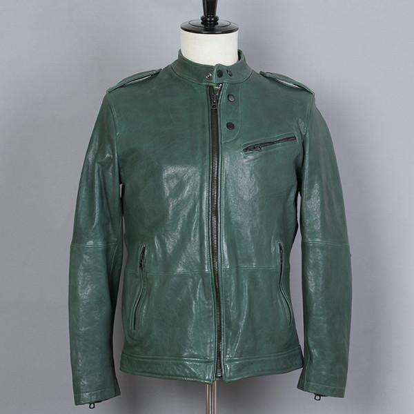 2019 moda para hombre Genuine Leaher Jacket verde piel de oveja Stand Sollar informal simple Vegetales cuero bronceado abrigo de invierno hombres