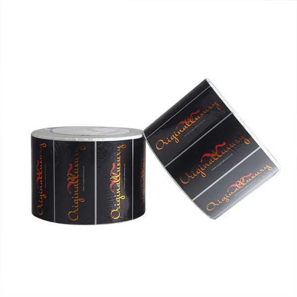 Customized black matte vinyl label with gold foil new eco-friendly packing labels company logo adhesive labels sticker
