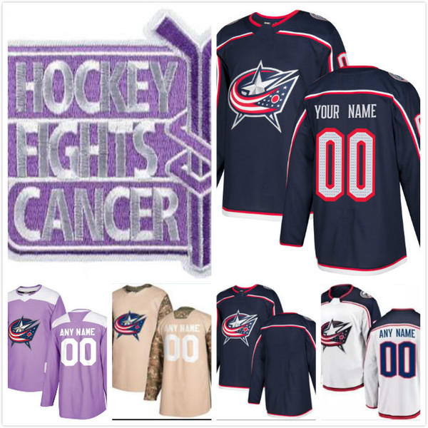 2018 New Arrival Columbus Blue Jackets Jersey Fights Cancer Jack Johnson Zach Werenski Alexander Wennberg Nick Foligno Custom Hockey Jerseys