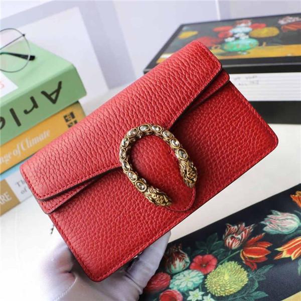 top popular Mini Brand Leather Slant Bag Single Shoulder Bag Tiger Head Button Crystal Decoration designer handbag wallet 2019