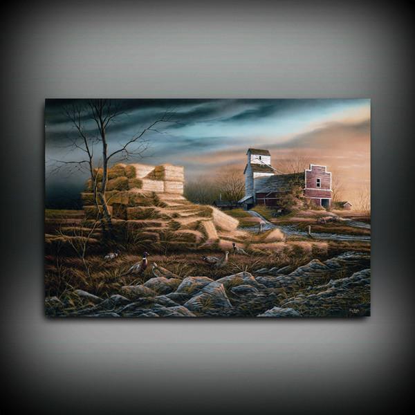 HD Baskılı Terry Redlin Yağlıboya Ev Dekorasyon Duvar Sanatı Tuval Üzerine Prairie Anıtlar Çerçevesiz