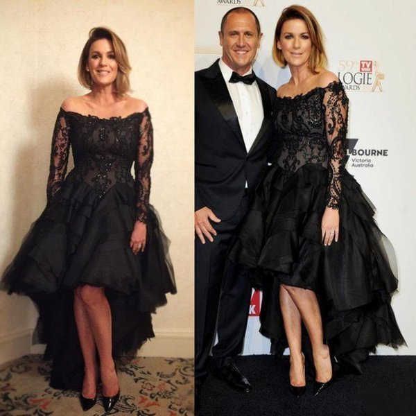 Fashion Black High Low Prom Dresses New 2019 Sexy Off The Shoulder Lace Applique Beads Tiers Illusion Long Sleeves Celebrity Evening Gowns
