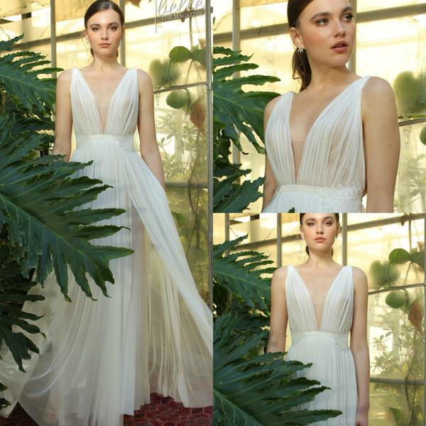 8f29162f2e4ea Discount Oliver Bridal 2019 Bohemia Wedding Dresses V Neck Appliques Beads  Ruffle Chiffon Side Split Beach Bridal Gowns Plus Size Robe De Mariée ...