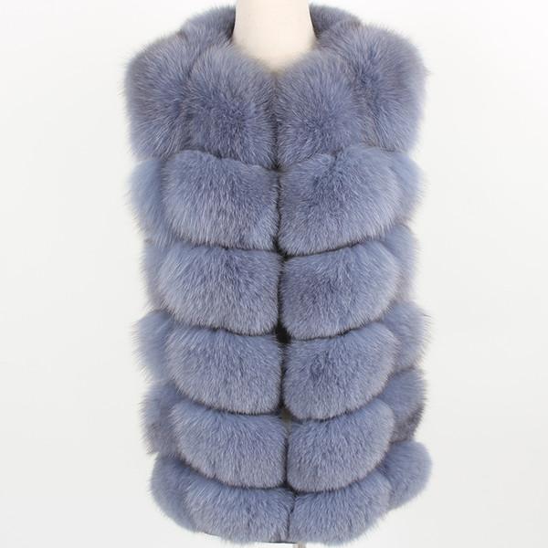 Women's puls Size Grey Natural Fox Fur Vest Coat Fashion fur Grass Vest Jacket Park