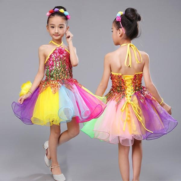 Compre Disfraces De Baile Para Niñas Lentejuelas De Salsa Traje De Baile Moderno Vestido De Niña Ropa De Baile Vestido De Baile De Niña Disfraces Para