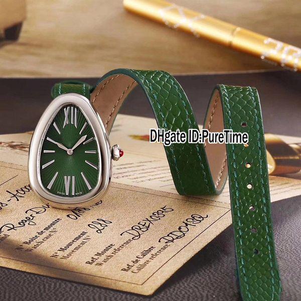 Yeni Moda 102726 Çelik Kasa Yeşil Dial İsviçre Kuvars Womens İzle bayanlar Saatler Uzatılmış Siyah Kırmızı Beyaz Yeşil Kahverengi Deri Kayış 38b2