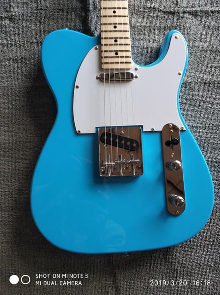 Ücretsiz Nakliye, Altı Dize Tele Elektro Gitar, sağlam Vücut Gitar Telecaster Sky Blue OEM Vintage Stil Elektro Gitar Spot