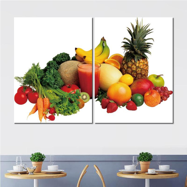2 sets vegetables fruit juice variety canvas print arts pictures for dining room decor