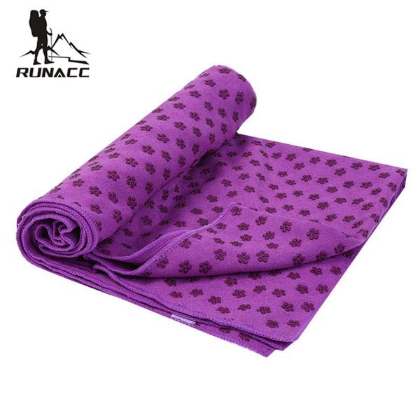 Tapis de yoga anti-dérapant RUNACC Pratique en microfibre chaude Serviette de yoga multi-fonctionnelle Tapis de couverture Prune Blossom Bump Hot
