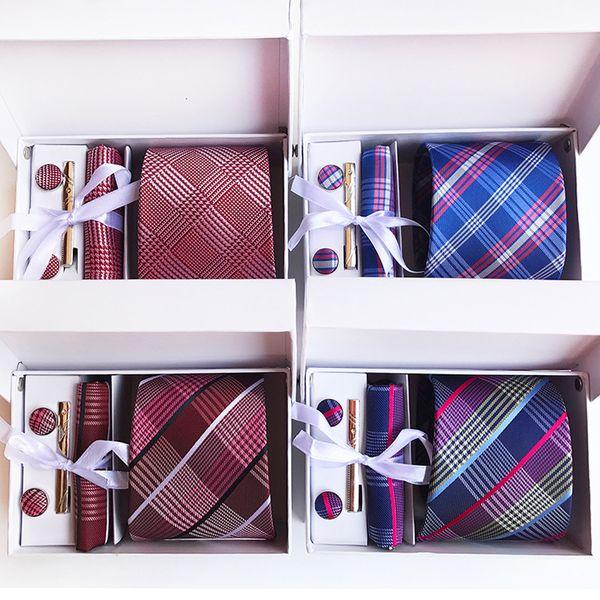 180 Styles Neck Tie Set Paisley 8 cm Men Necktie Silk Tie Wedding Accessories Business Tie Hanky Set (Tie+Tie Clips+Cufflinks+Hanky+Box)