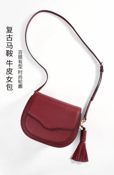 Bolsa de couro 2019 nova camada superior de couro borla moda bolsa de sela bolsa de ombro crossbody das mulheres