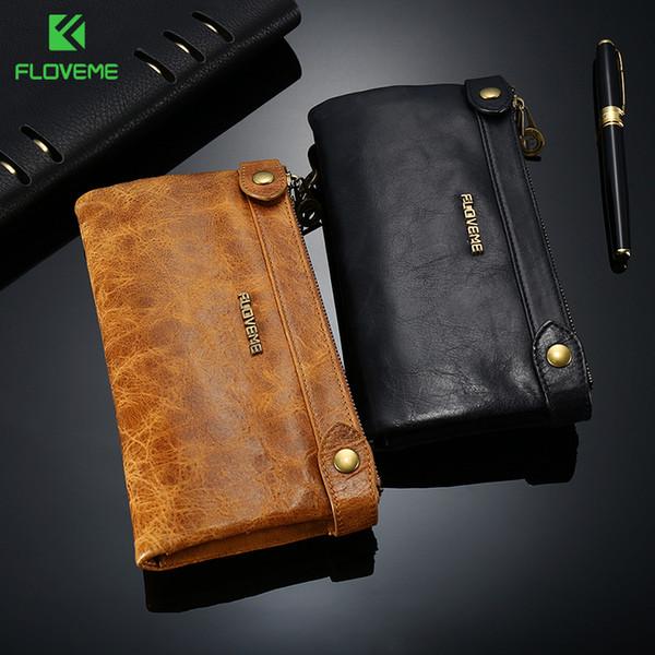 wholesale 5.5 inch Stylish Genuine Leather Zipper Wallet Case For iPhone X 8 8Plus 7 7plus 6 6s 5 Man Women Card Slot Phone Fundas