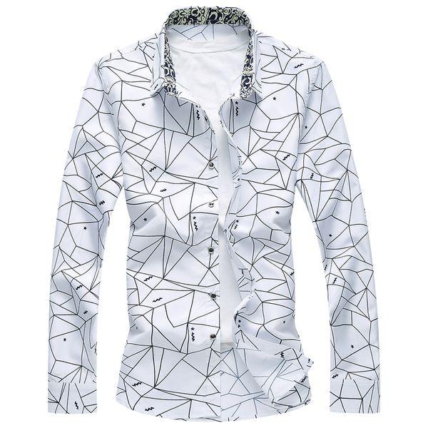Новый дизайнер плюс размер 7XL Весна мужская рубашка высокое качество классический формальный геометрический плед с длинным рукавом рубашки Мужские