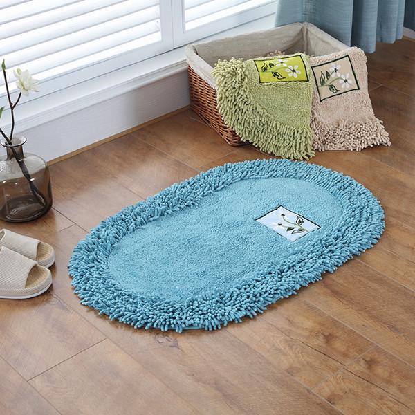 Solid Color Fashion Home Shaggy Carpet Kitchen Mat Anti-Slip Bathroom Carpet Bedroom Balcony Area Rug Hot Sale