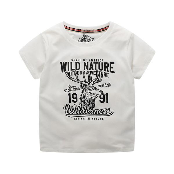 05# super soft 3d printed deer cuhk kids T-shirt short sleeve cotton boy top