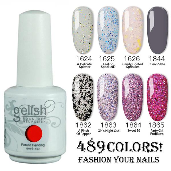Envío gratis 500 unids / lote 15 ML 2019 Gelish Nail Polish Remoje UV Gel polish 489 Fashion Colors