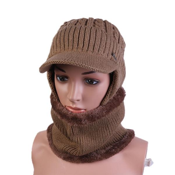 Winter Hat Men Knitted Hat Scarf Women Thick Earmuff Male Woolen Hats Outdoor Cap Set