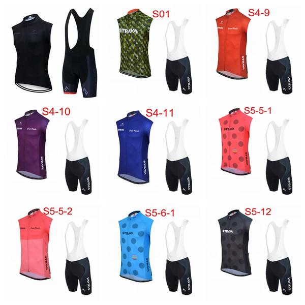 STRAVA ekibi Bisiklet Kolsuz forması Yelek önlüğü şort setleri Yaz rahat rüzgar geçirmez giyilebilir erkekler açık spor Jersey suit S61033