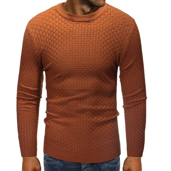 Mens Sweater Pullover 2019 Male Brand Casual Slim Slub Knit Sweaters Men High-quality Solid Color Hedging O-neck Sweater