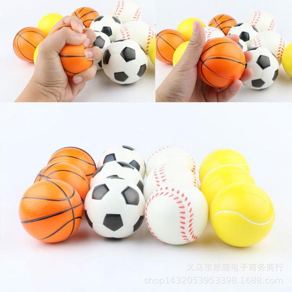 6.3cm Baseball Football Basketball tennis Emoji smile Sponge Balls Soft PU Foam Ball Fidget Relief Novelty Toys For Children Kids