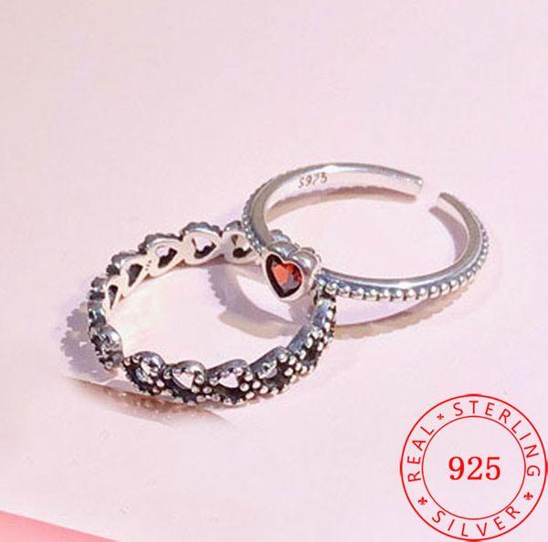 2018 moda 925 Ayar gümüş kırmızı kalpler yüzük 925 ayar gümüş okside yüzük ayarlanabilir boyutu yüzükler