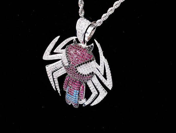 de Venda Hip Hop Hot Homens Spiderman dos desenhos animados Pingente Cheio de Zircon Hipster