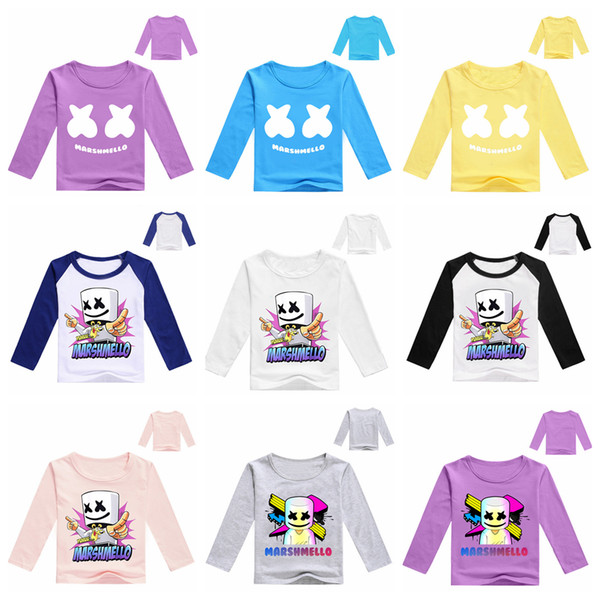 31 styles DJ marshmello kids T-shirt long Sleeves music Tee Shirt Tops round Neck cartoon Printed T-shirt home casual clothes FFA1704