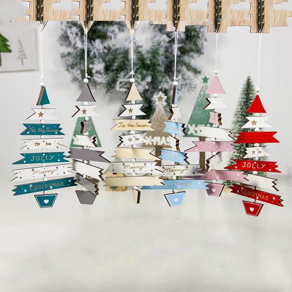 2020 Новый год DIY рождественские украшения Вуд Цветной рисунок многоцветный Рождественская елка строка кулон украшение Креативный Xmas
