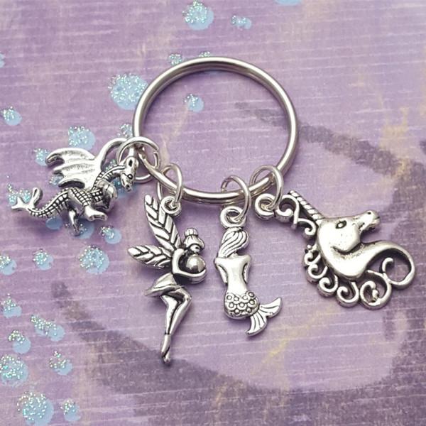 best selling Hot Ancient Silver Unicorn Mermaid Little Fairy Dragon Keychain Creative Designer Keyring Keychain Couple Jewelry Best Valentine Day Gift