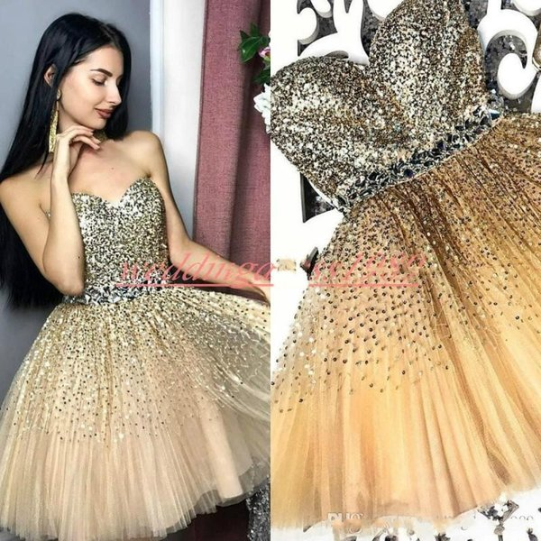 Sparkling Beads Sequins Gold Homecoming Dresses for Juniors Crystal Plus Size Short Prom Dress Party Ball Gowns Graduation Club Wear Cheap