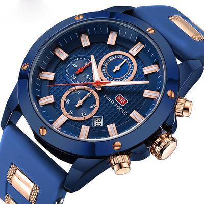 Chic Marine Hommes Quartz Montre Analogique 3D Boulon Design 6 Mains 24H Calendrier silicone Bracelet Grand Taille Luxe Horloge De Mode Chronographe