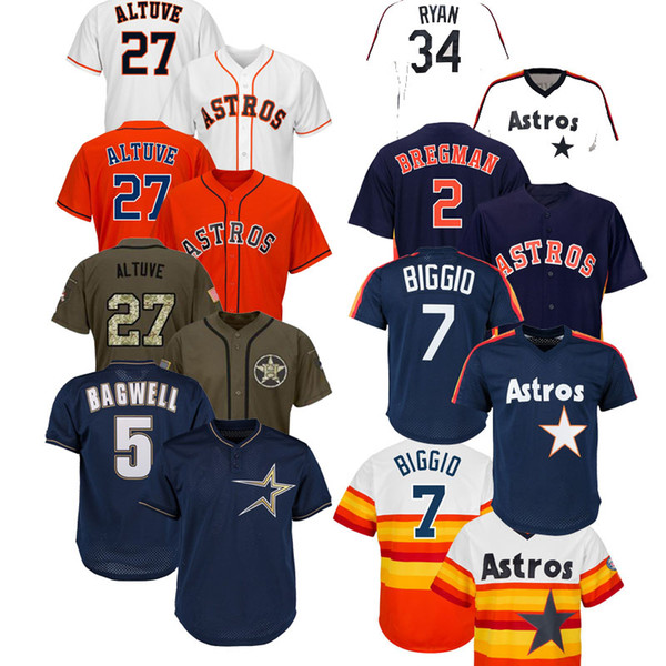 Erkek Houston Jose Altuve Astros Jersey Alex Bregman George Springer Carlos Correa Nolan Ryan Jeff Bagwell Craig Biggio Yuli Gurriel Formalar