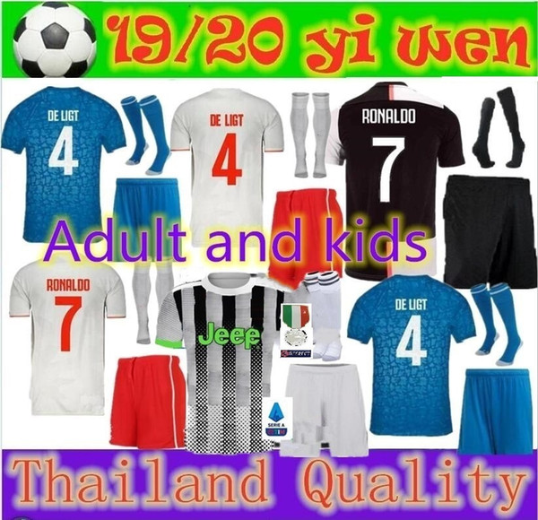 And kid 19 20 juventu occer jer ey kit 2018 2019 de ligt dybala higuain mandzukic buffon ronaldo football hirt uniform, Black;yellow