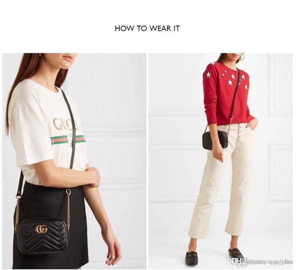 design de luxeMode féminine en cuir véritable mini-Marmont GGSacs à main épaule sac sac à main avec des numéros de série Box