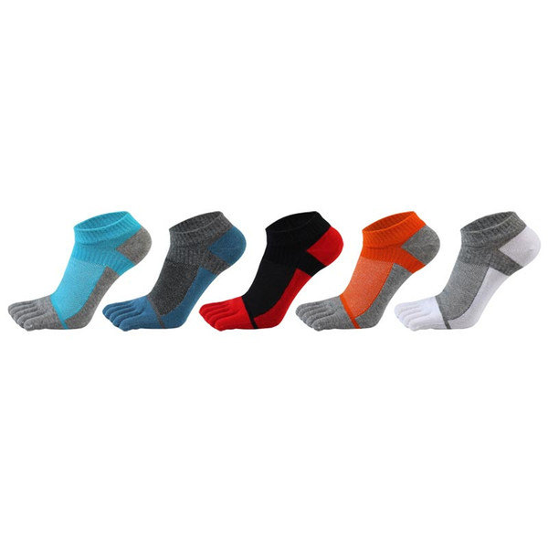 5 Pairs/lot Summer Newest Mens Toe Socks Pure Cotton Five Fingers Sock Colourful Breathable Mesh Eye Toes Ankle Socks MX190719