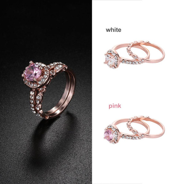 2Pcs/Set New Antique Rose Gold Morganite Ring Set Wedding Women Fasghion Jewelry Valentines Day's Gifts for Women