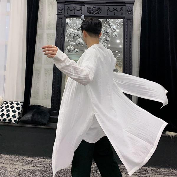 2019 sommer männer baumwolle leinen seite split lange shirts stehkragen bluse mann vintage weiß schwarz farbe punk hip hop shirt