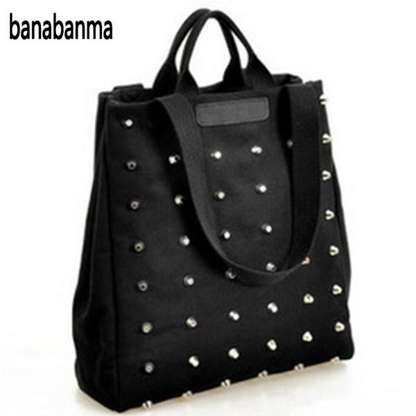 banabanma Fashion Leisure Canvas Women's Punk Style Rivets Handbag Classic Black All-match Shoulder Bag 2017 retro ZK30