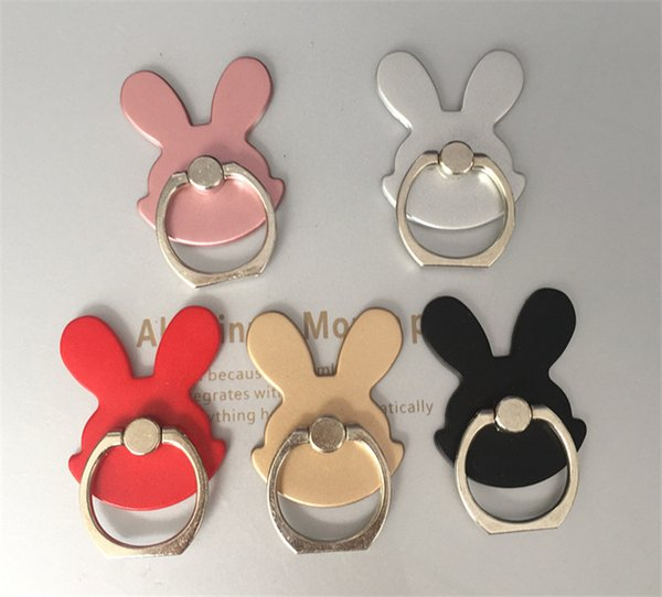 Rabbit Design Phone Holders 360 Degree Metal Finger Ring Holder Mobile Phone Smartphone Stand Holder For iPhone 7 8 X Samsung