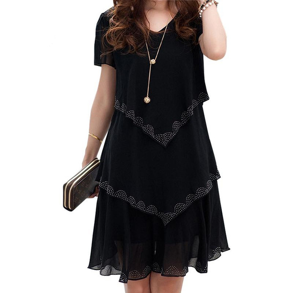 Plus size vestido de chiffon mulheres clothing vestidos de verão festa de manga curta casual vestido de festa azul preto robe femme 5x