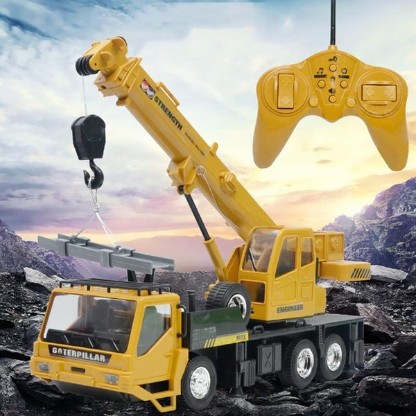 Remote Control Truck Crane Toy Rechargeable Remote Control Lifting Simulation Crane Toy For Children Model Gifts